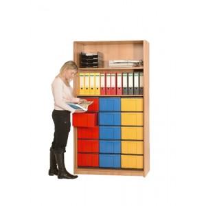 InBox Hochschrank als offenes Regal mit 15 hohen Schüben (blau, gelb, rot)