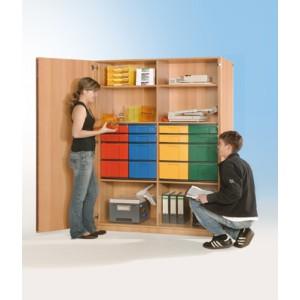 Schrank mit 8 flachen & 8 hohen Schüben (farbig)