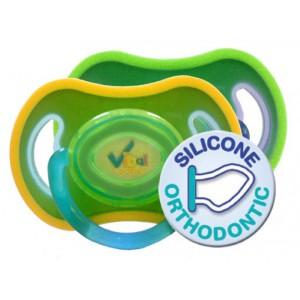 Soft Touch Sauger (grün / gelb) ab 6 Monate, orthodentisch, 2er Pack