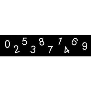 Zahlen 19 mm, für Rillengummitafeln und Türschilder